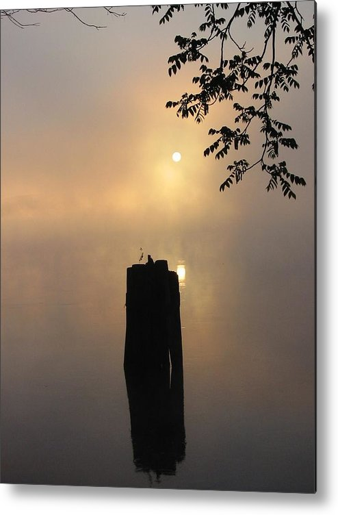 Pier Metal Print featuring the photograph Post In River by Russ Harriger