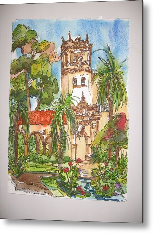 Landscape Painted On Location Metal Print featuring the painting Prado- Balboa Park by Michelle Gonzalez