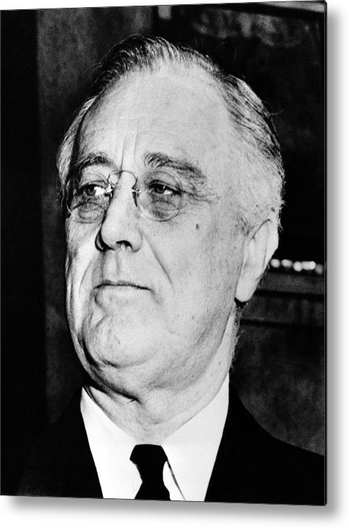 Franklin Roosevelt Metal Print featuring the photograph President Franklin Delano Roosevelt by War Is Hell Store