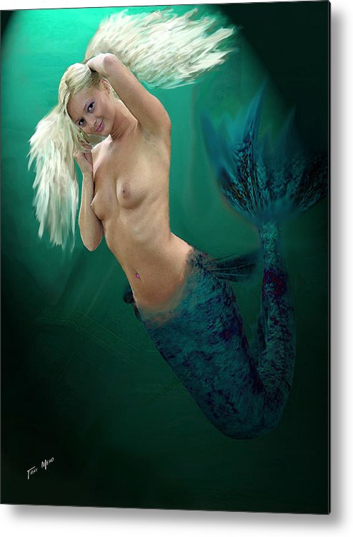 Mermaid Metal Print featuring the painting Pretty Blonde by Tray Mead
