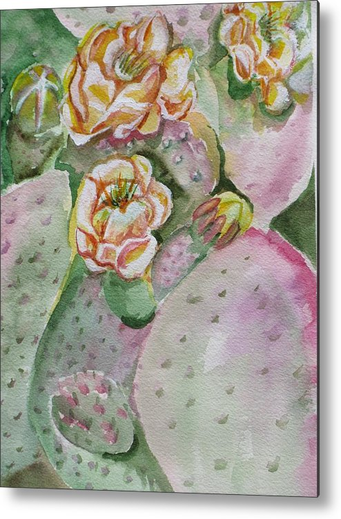 Cactus Flower Metal Print featuring the painting Prickly Pear by Kathy Mitchell