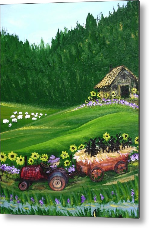 Pups Metal Print featuring the painting Pups First Hayride by Laura Johnson