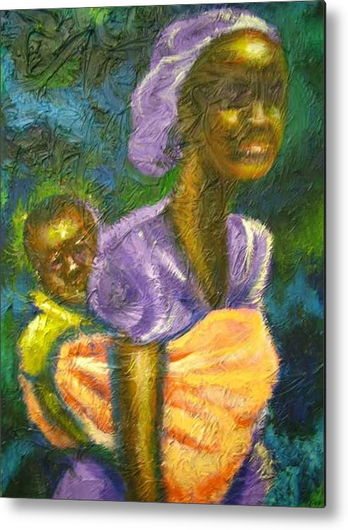 Mother And Child Metal Print featuring the painting Safe And Secure by Jan Gilmore