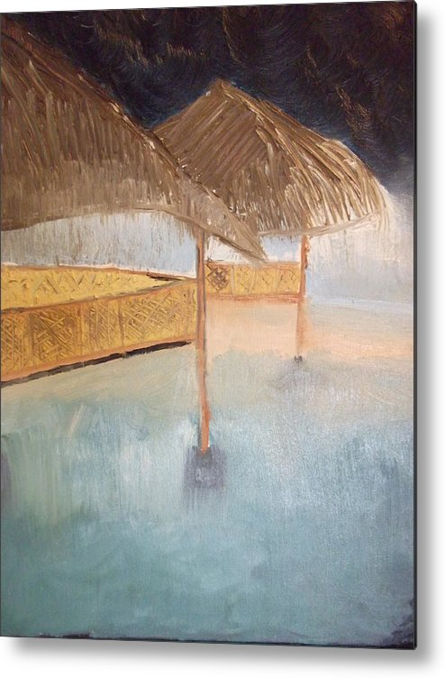 Rain Is An Abstract Depiction Of Wind And Water Metal Print featuring the painting Rain by Marc Clarke