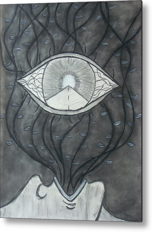 Eyes Metal Print featuring the drawing Rebirth by Marsha Ferguson