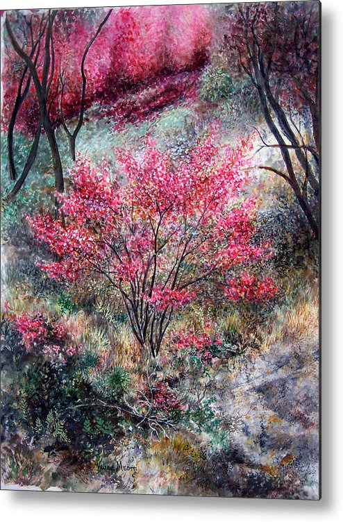 Landscape Metal Print featuring the painting Red Bush by Valerie Meotti
