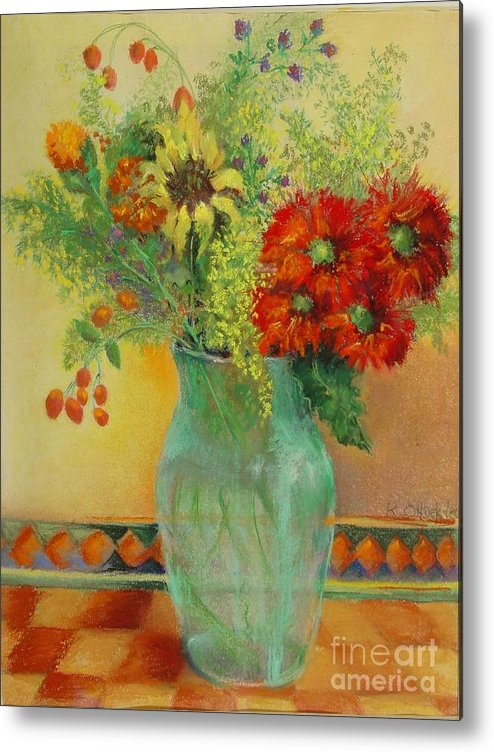 Floral Metal Print featuring the painting Red Daisies In Green Glass                 Copyrighted by Kathleen Hoekstra