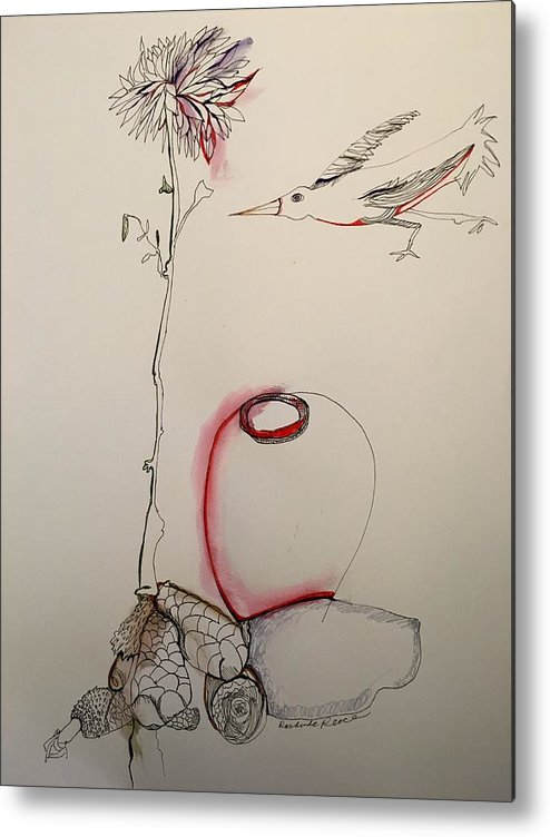 Flower Metal Print featuring the drawing Red Jar by Rosalinde Reece