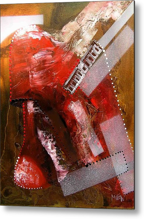 Lamp Metal Print featuring the painting Red Lamp Transformation by Evguenia Men