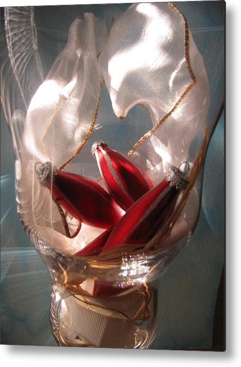 Glass Metal Print featuring the photograph Red Ornaments by Lindie Racz