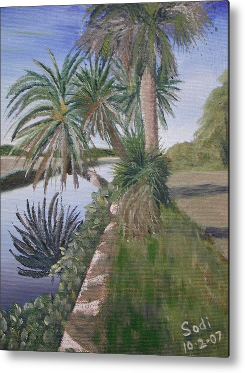 Palm Tree Metal Print featuring the painting Reflected Palms by Sodi Griffin