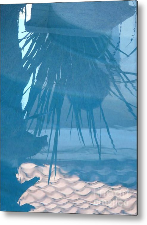 Digital Metal Print featuring the photograph Reflection In Blue by Donna McLarty