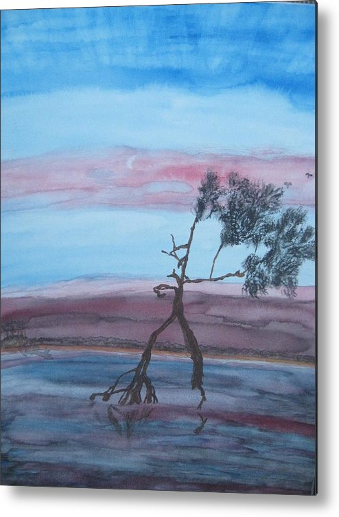 Landscape Acrylic Water Tree Metal Print featuring the painting Reflections by Warren Thompson