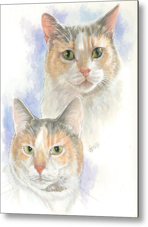 Domestic Cat Metal Print featuring the mixed media Reno by Barbara Keith
