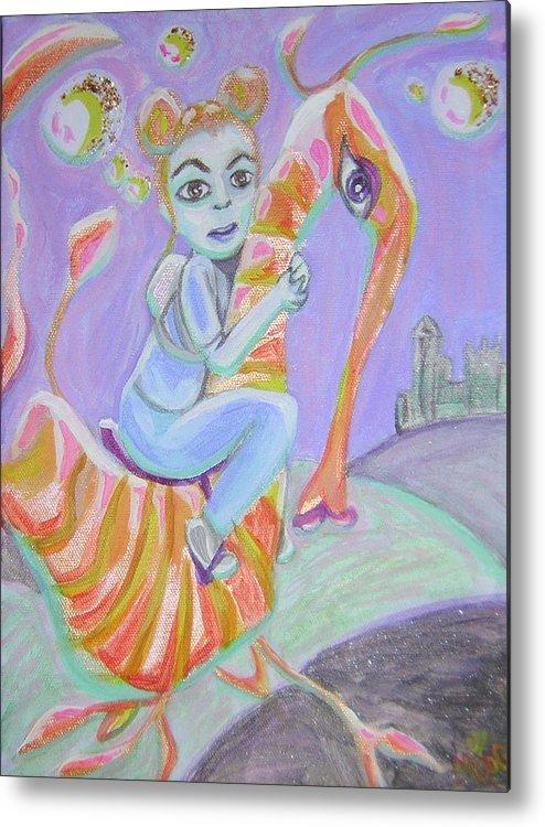 Sea Dragon Metal Print featuring the painting Return Of The Prodigal Water Baby by Michelley QueenofQueens