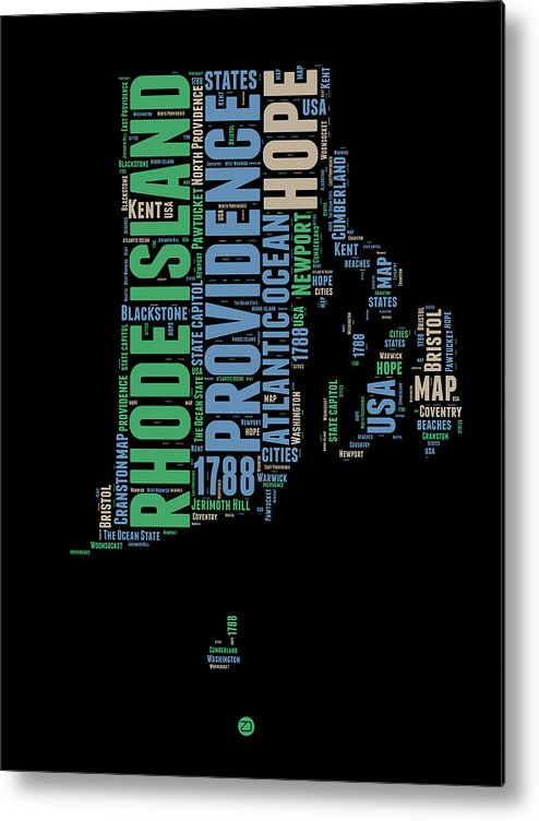 Rhode Island Metal Print featuring the digital art Rhode Island Word Cloud 2 by Naxart Studio