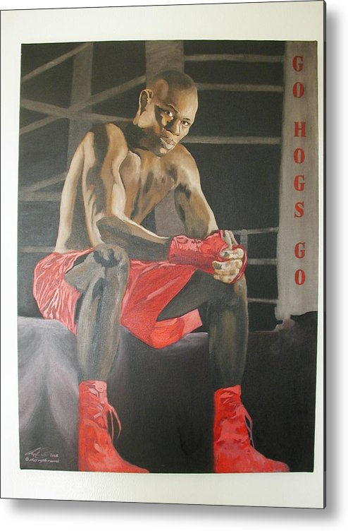 Portrait Metal Print featuring the painting Ringside With Jermain by Angelo Thomas