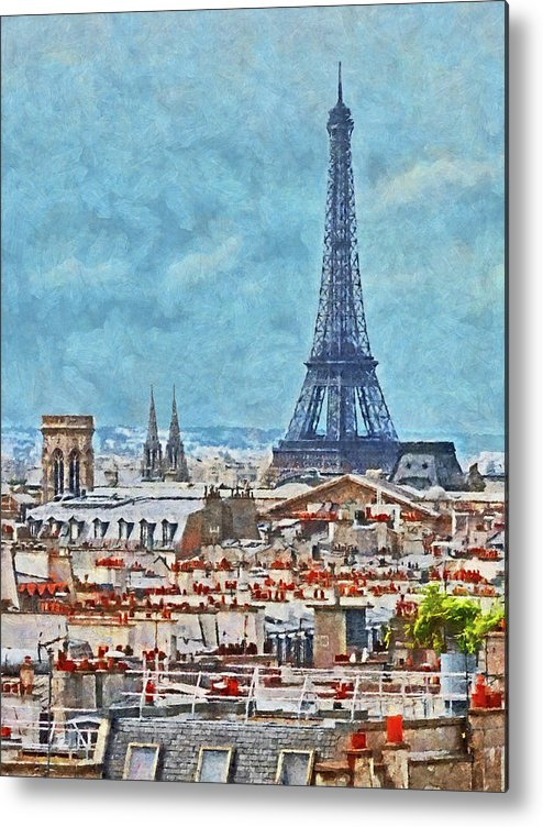Eiffel Tower Metal Print featuring the digital art Rooftops In Paris And The Eiffel Tower by Digital Photographic Arts