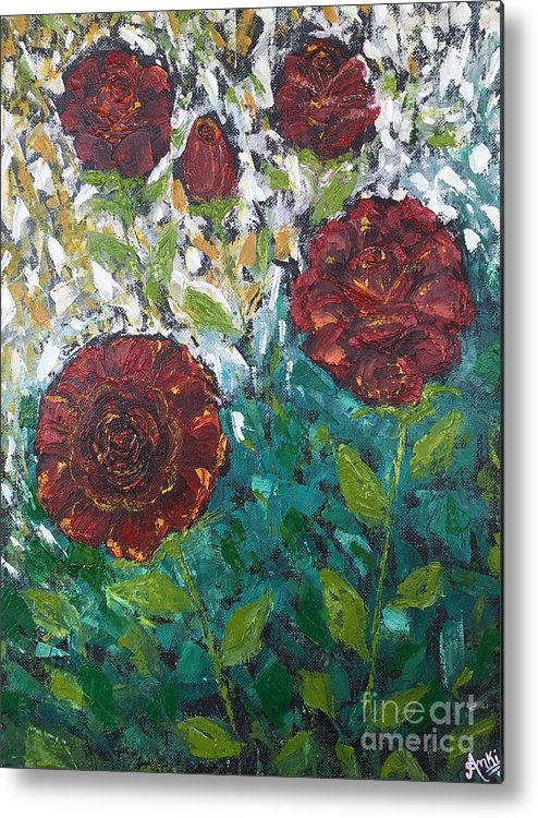 Flower Metal Print featuring the painting Roses by Ankita Gupta