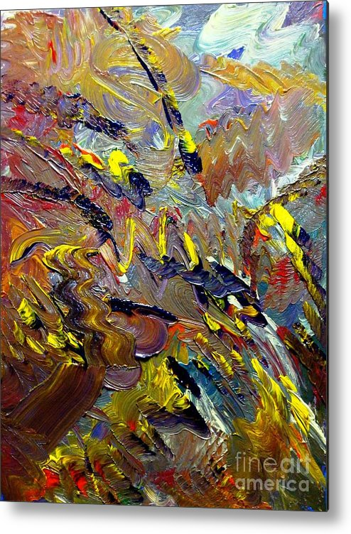 Abstract Metal Print featuring the painting Running Horse Flying Eagle by Karen L Christophersen