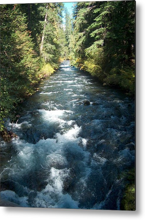 Water Stream Creek Mckenzie River Bend Oregon Metal Print featuring the photograph Rushing Waters by Janet Hall