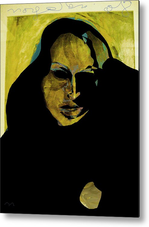 Woman Metal Print featuring the painting Sadness by Noredin Morgan