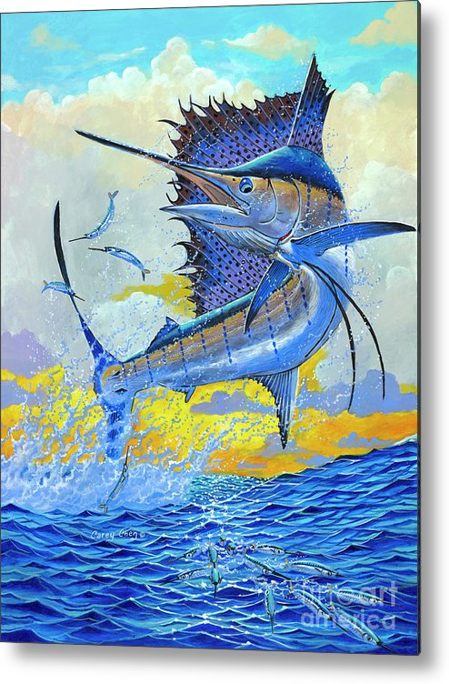 Sailfish Metal Print featuring the painting Sailfish Sunset Off00160 by Carey Chen