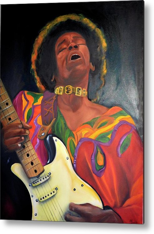 Jimi Hendrick Metal Print featuring the painting Saint Jimmy by Mitchell Todd