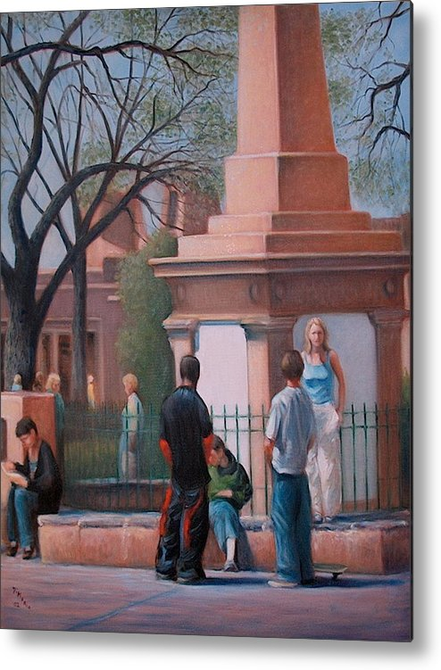 Realism Metal Print featuring the painting Santa Fe Plaza by Donelli DiMaria