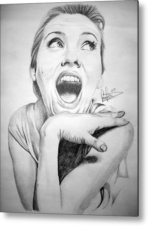 Celeb Portraits Metal Print featuring the drawing Scarlett Johansson by Sean Leonard