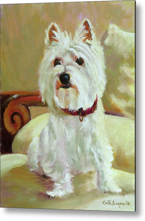 Pet Metal Print featuring the painting Schatzie by Keith Burgess