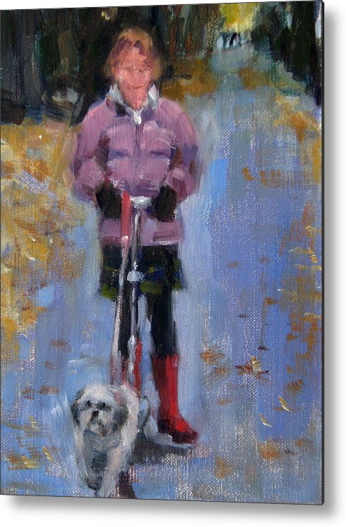 Child Metal Print featuring the painting Scooting Down The Street by Merle Keller