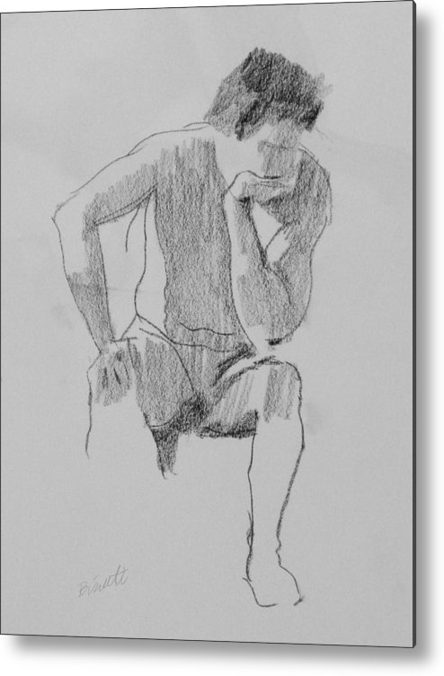 Life Metal Print featuring the drawing Seated Nude 3 by Robert Bissett