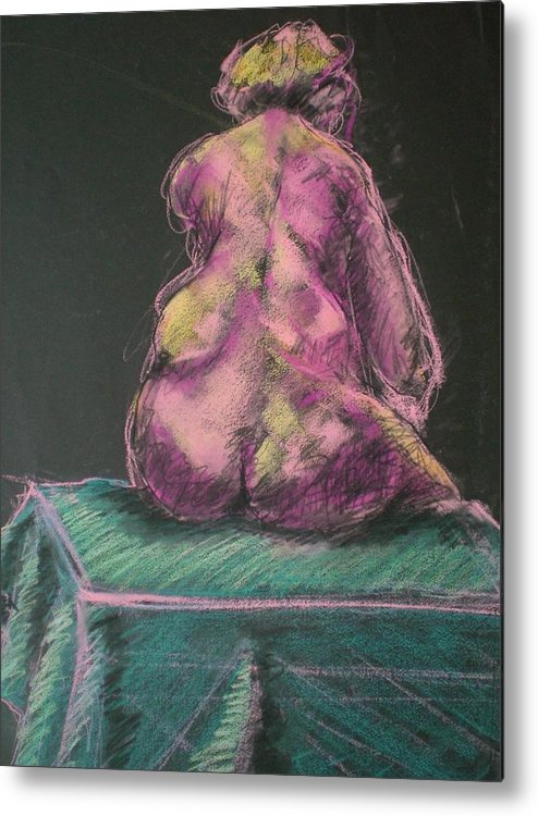 Seated Nude Metal Print featuring the painting Seated Pink Nude by Aleksandra Buha