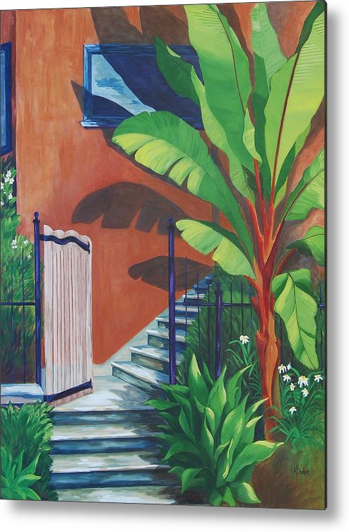 Garden Gate Metal Print featuring the painting Secret Passage by Karen Dukes