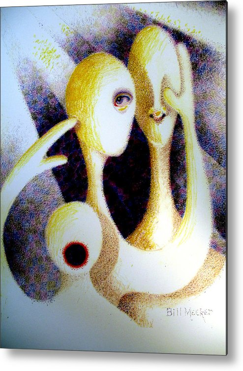 Semi-abstract Metal Print featuring the painting See Smell Feel Yell by Bill Meeker