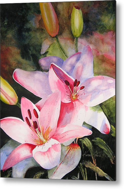 Lilies Metal Print featuring the painting Shady Ladies by Karen Stark