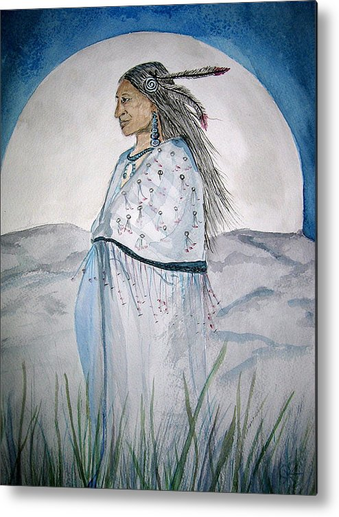 Original Art Metal Print featuring the painting She Walks At Night by K Hoover