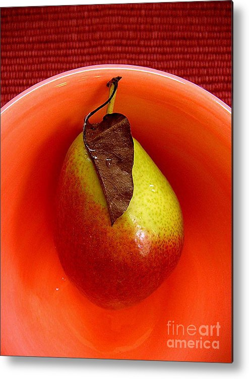 Nature Metal Print featuring the photograph Single Pear In A Bowl by Lucyna A M Green
