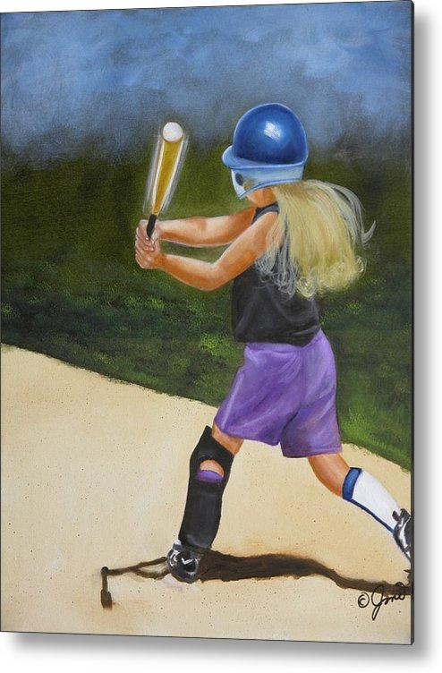 Child Metal Print featuring the painting Slugger by Joni McPherson