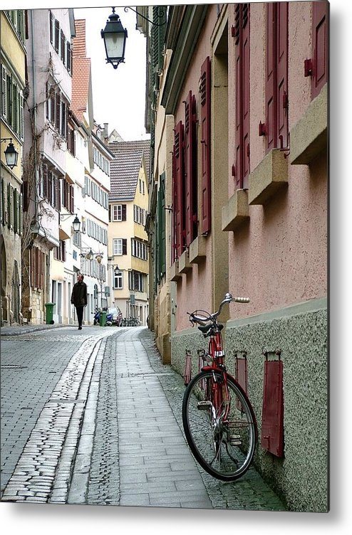 Small Street Metal Print featuring the photograph Small Street In Tubingen. by Martina Fagan