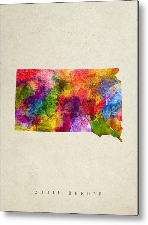 South Dakota Metal Print featuring the painting South Dakota State Map 02 by Aged Pixel