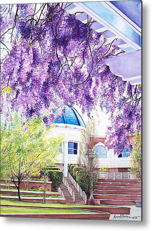Wisteria Metal Print featuring the painting Spring At City Hall by Anne Rhodes