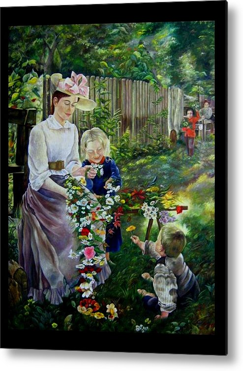 Nature And Faces - Persons Metal Print featuring the painting Spring Idyll by Netka Dimoska