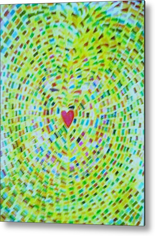 Abstract Metal Print featuring the drawing Springtime Love by Brenda Adams