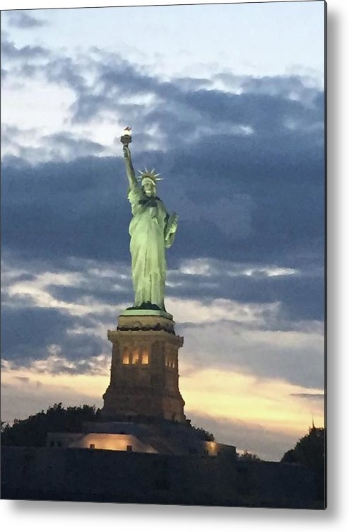 Statue Metal Print featuring the sculpture Statue Of Liberty by Alyce Barton
