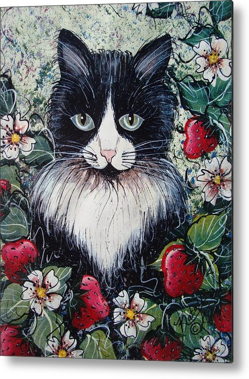 Cat Metal Print featuring the painting Strawberry Lover Cat by Natalie Holland