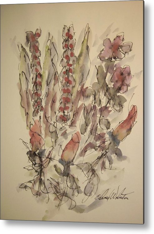 Floral Metal Print featuring the painting Study Of Flowers S by Edward Wolverton