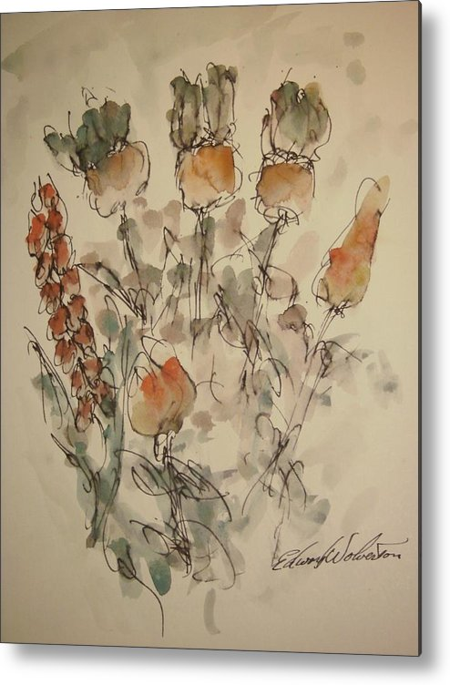 Floral Metal Print featuring the painting Study Of Flowers V by Edward Wolverton