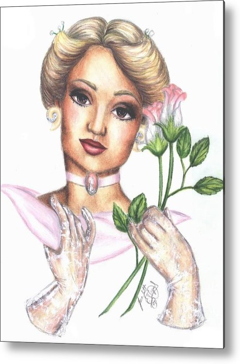 Portrait Metal Print featuring the drawing Summer Rose by Scarlett Royal